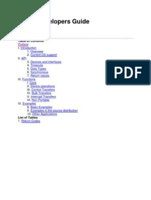 Libusb Developers Guide Vers0 1   Application Programming