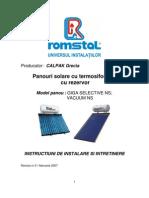 Panouri Solare Rezervor-Instalare,Intretinere