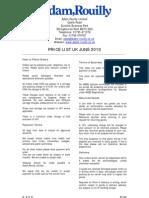 Adam Rouilly Price List June 080610