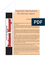 Contract Labour - Clarifications