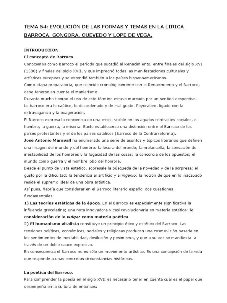 Tema 54 Lírica Barroca
