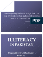 Illiteracy in Pakistan 2011