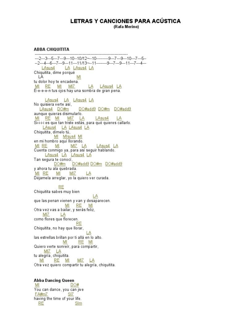 Canciones Y Letras Para Acústica
