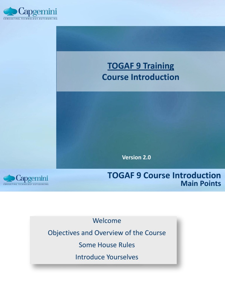 01 Togaf 9 Course Introduction V20 Information Technology