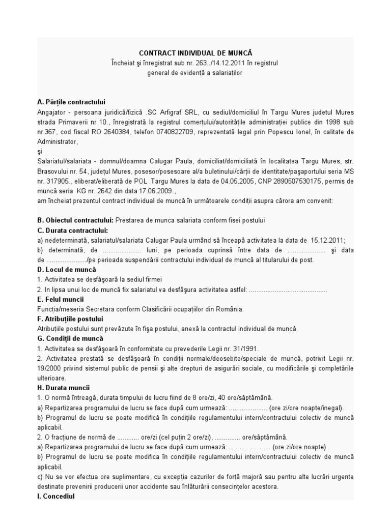 exemplu de contract de muncă la domiciliu)