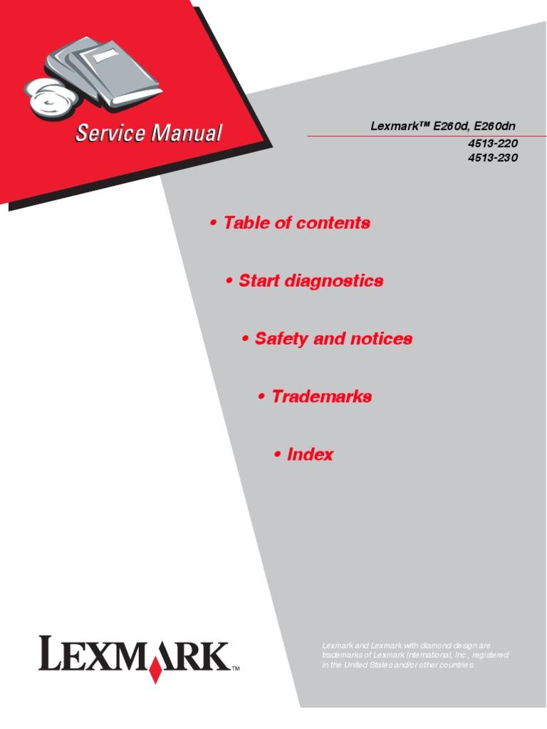 lexmark e260d e260dn service manual repair guide