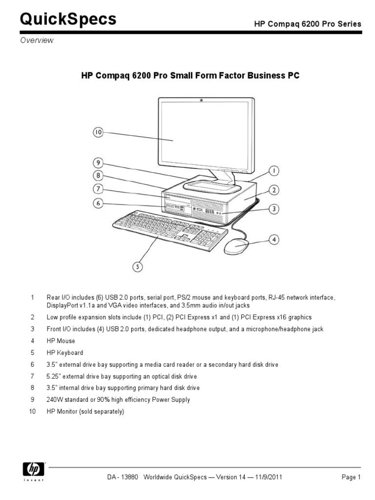 Quickspecs: Hp Compaq 6200 Pro Small Form Factor Business Pc