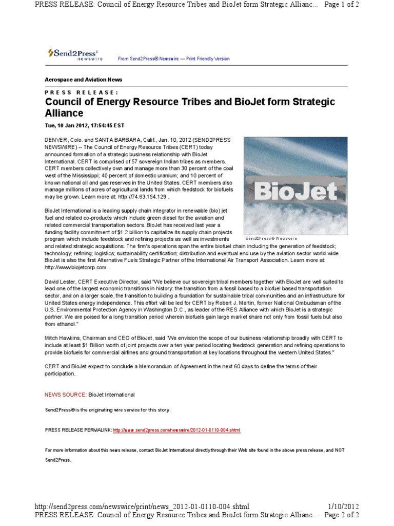 Council of Energy Resource Tribes and BioJet Form Strategic Alliance ...