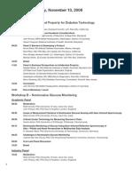 Diabetes Technology Society - Nov 2008 Agenda