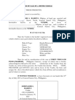 Deed of Sale of a Motor Vehicle