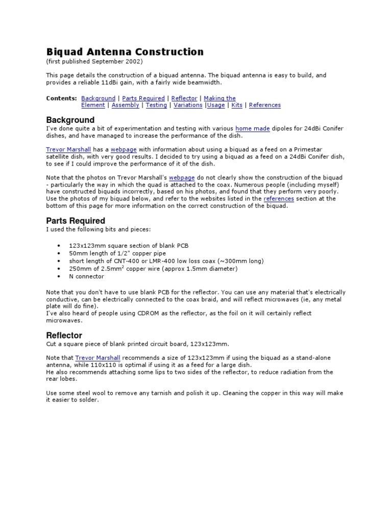Biquad Antenna Construction | Coaxial Cable | Antenna (Radio)