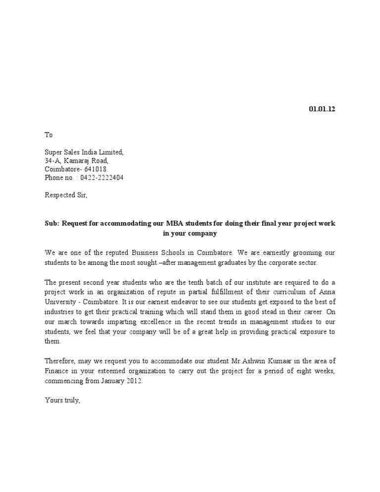 Internship Approval Letter Format