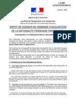 Notice Demande d'Acq de La Nat Fr 21-15 Fusion 9 01 12