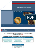 Nano Emulsions in Foods - Patent and Technology Report - Key Players, Innovators and Industry Analysis
