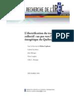 Rapport de l'IRÉC, décembre 2010 - L'électrification du transport  collectif