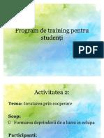 Program de training pentru studenți
