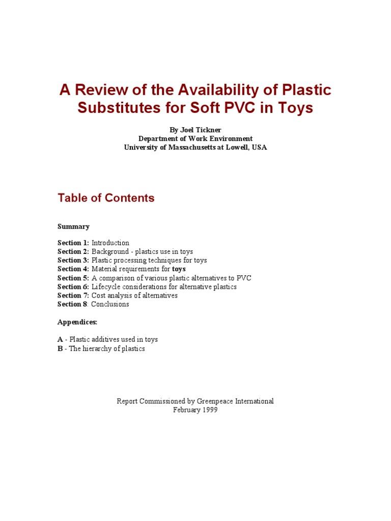 PlasticSubstitutesPVCtoys_Tickner | Polyvinyl Chloride | Plastic
