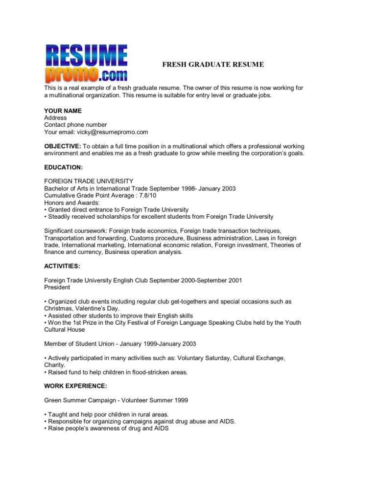 fresh graduate resume - International Business Resume Objective
