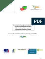 La participation des organisations paysannes dans les processus d'élaboration et de négociation des politiques agricoles et commerciales en Afrique de l'Ouest