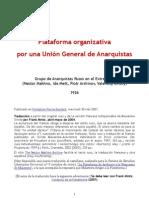 Plataforma Organizativa Por Una Unión General de Anarquistas (1926) aka Plataforma Archinov