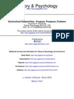 Kirschner S. Sociocultural Subjectivities - Progress, Prospects, Problems