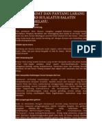 Adat Istiadat Dan Pantang Larang Dalam Teks Sulalatus Salatin Sejarah Melayu