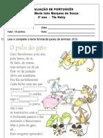 AVALIAÇÃO DE PORTUGUÊS 10 pontos 2º Bim