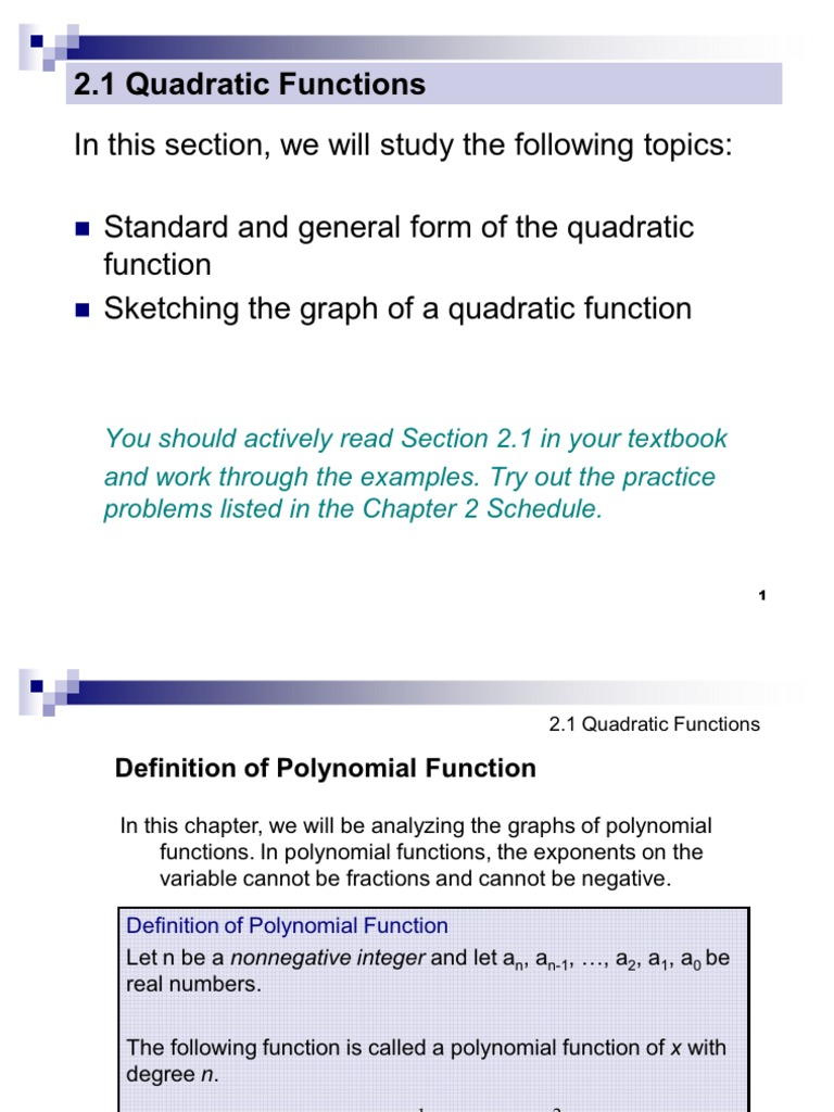 21 Quadratic Functions Quadratic Equation Polynomial