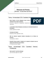 Resumen prensa CEU-UCH 13-01-2012