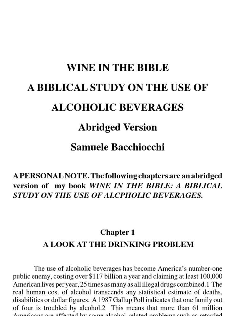 Wine In The Bible Abridged By Samuele Bacchiocchi Wine