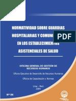 Guardia Hosp y Comun. en Los Estab, Asist, De Salud