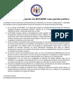 PRONUNCIAMIENTO Rechazamos la inscripción del MOVADEF como partido político