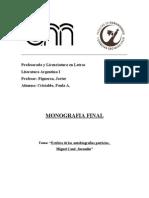 Estética de las autobiografías patricias. Miguel Cané
