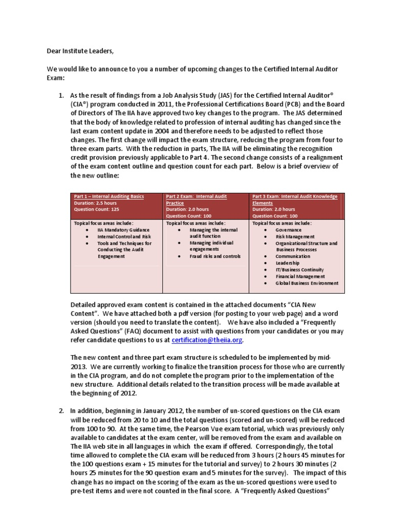 Changes To The Cia Exam Content Internal Audit Test Assessment