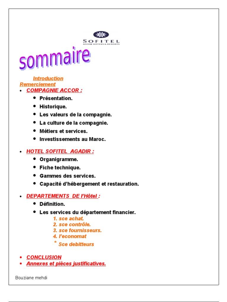 Rapport De Stage Hotel Sofitel Facture Agence De Voyage