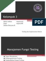 Manajemen Fungsi Testing