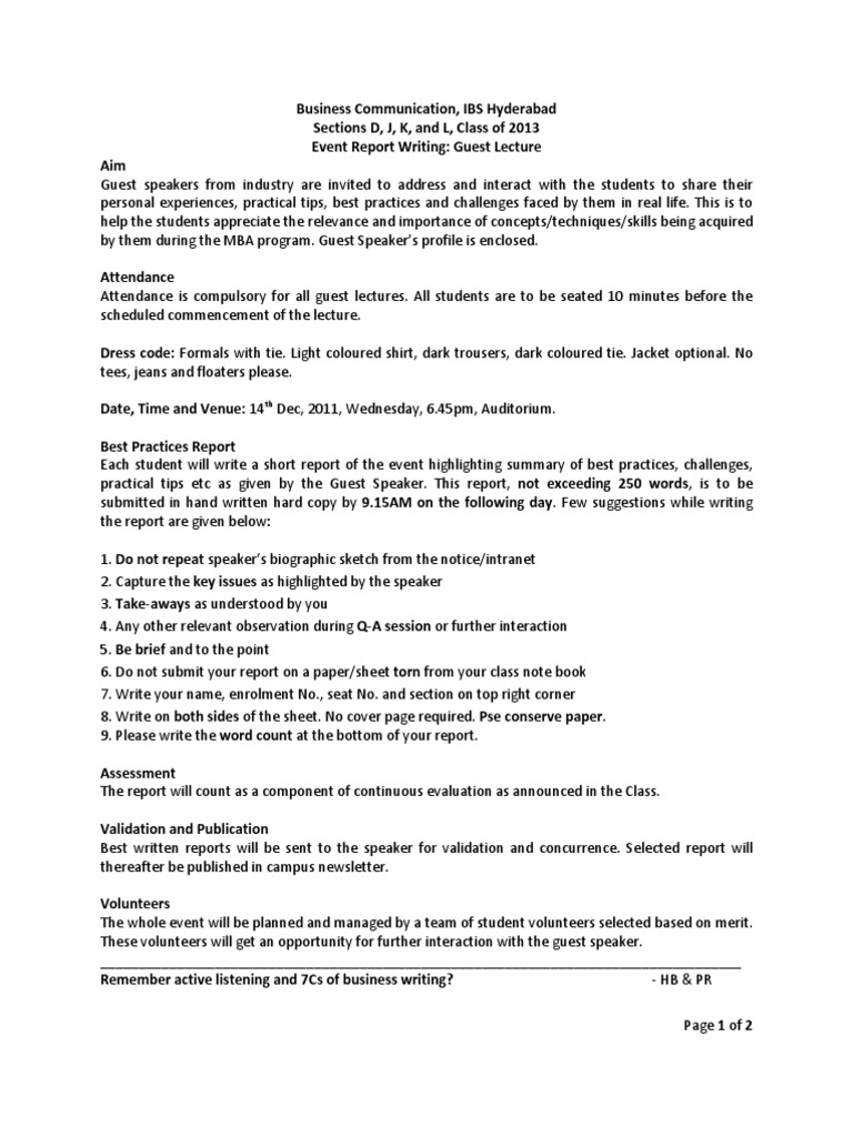 Guidelines For Event Report  PDF  Dell  Lecture