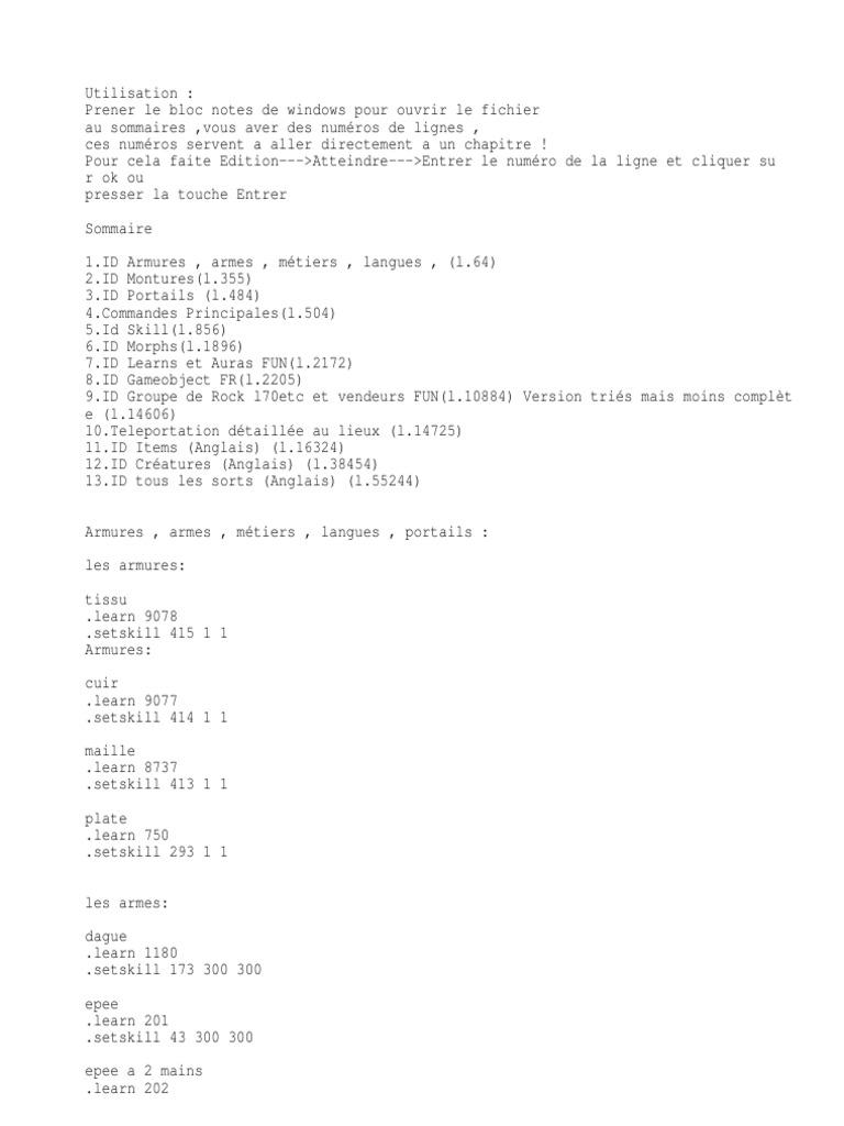 Commandes Mangos   Peuples de Warcraft
