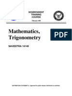 US Navy Course NAVEDTRA 14140 - Mathematics Trigonometry -1989