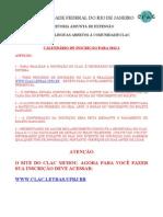Calendário de Incrição CLAC 2012