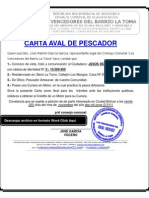 CARTA AVAL DE PESCADOR