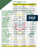 Calendario Academico 2012