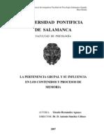 LA PERTENENCIA GRUPAL Y SU INFLUENCIA EN LOS CONTENIDOS Y PROCESOS DE MEMORIA