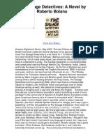 The Savage Detectives a Novel by Roberto Bolano - A Literary Adventure Novel