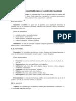 CATEGORÍAS GRAMATICALES O CLASES DE PALABRAS