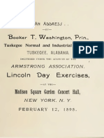 Booker T. Washington--An Address by Booker T. Washington, Principal Tuskegee Normal and Industrial Institute, Tuskegee, Alabama (1898)