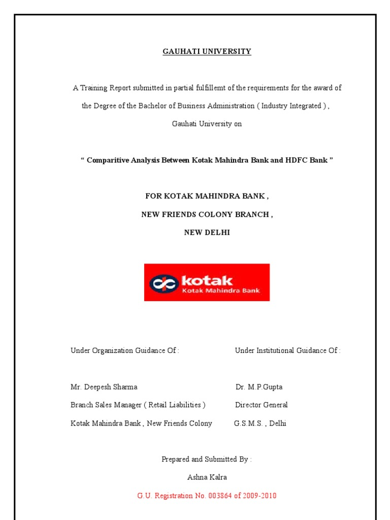 Kotak Summer Internship Project Reserve Bank Of India Banks