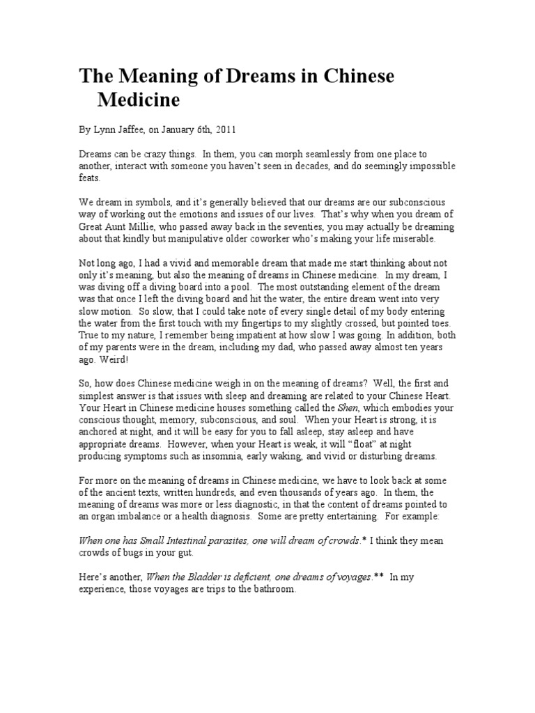 The Meaning Of Dreams In Chinese Medicine Dream Traditional