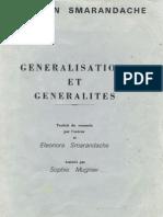GeneralisatIons et generalites, par Florentin Smarandache