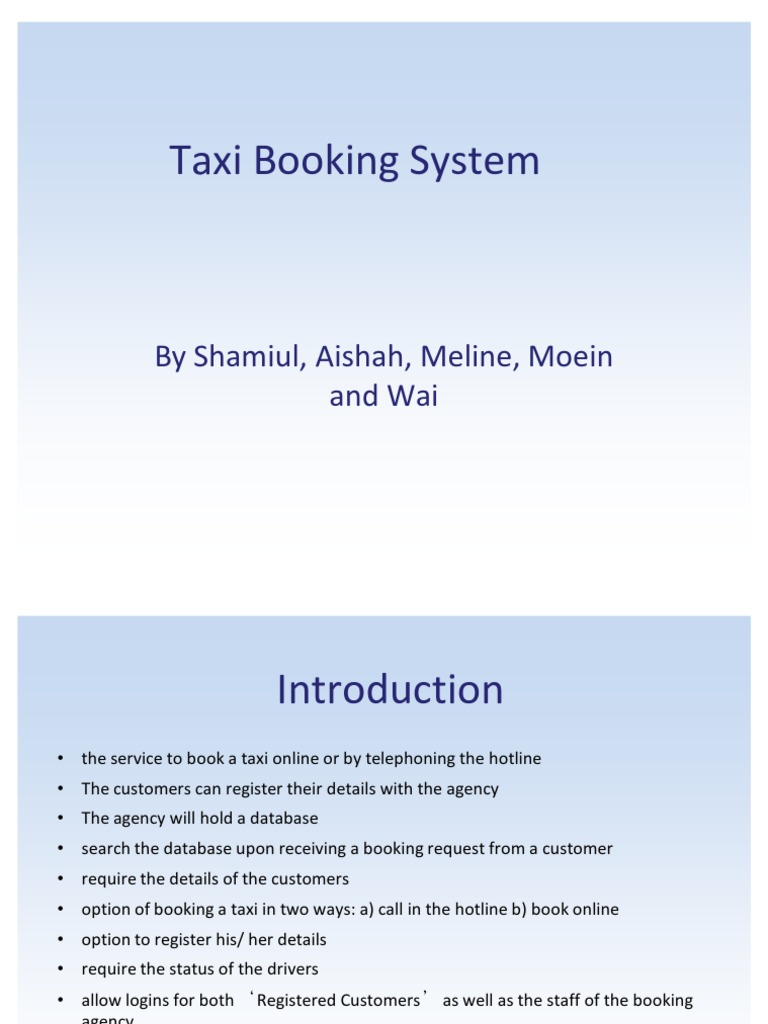 Report of cab booking system | Term paper Sample